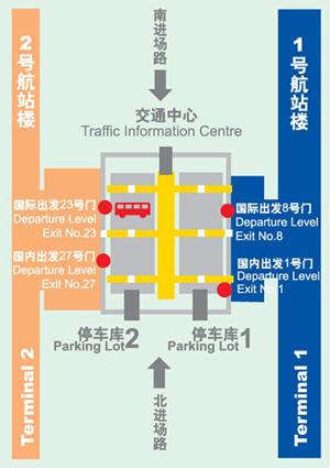 Shanghai Pudong Airport Terminal Shuttle Bus Diagram